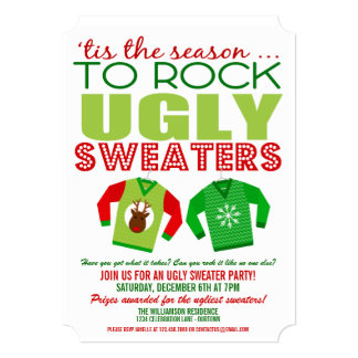 Ugly Christmas Sweater Party Invitations Merry Christmas And Happy