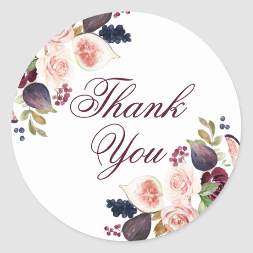 Fig Blossoms | Elegant Watercolor Floral Thank You Classic Round Sticker