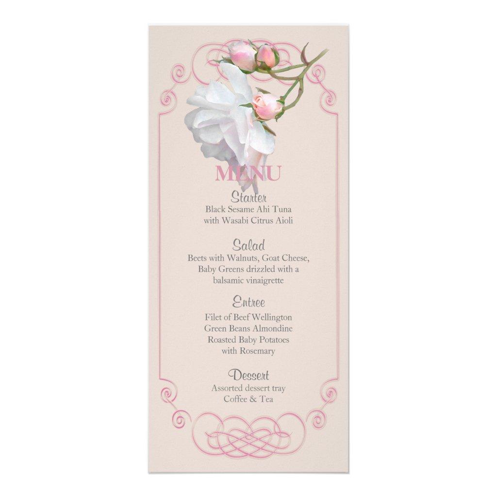 Filigree and Vine Roses Wedding Menu