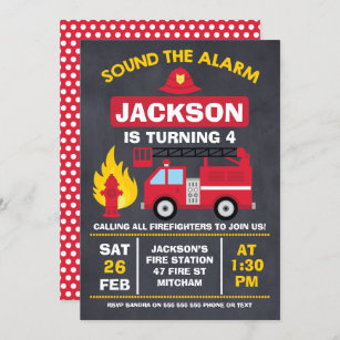 This personalized fire truck birthday party invitation features a cute red fire engine, afire hydrant and a siren on a charcoal background. Fire Truck Birthday Invitations Zazzle