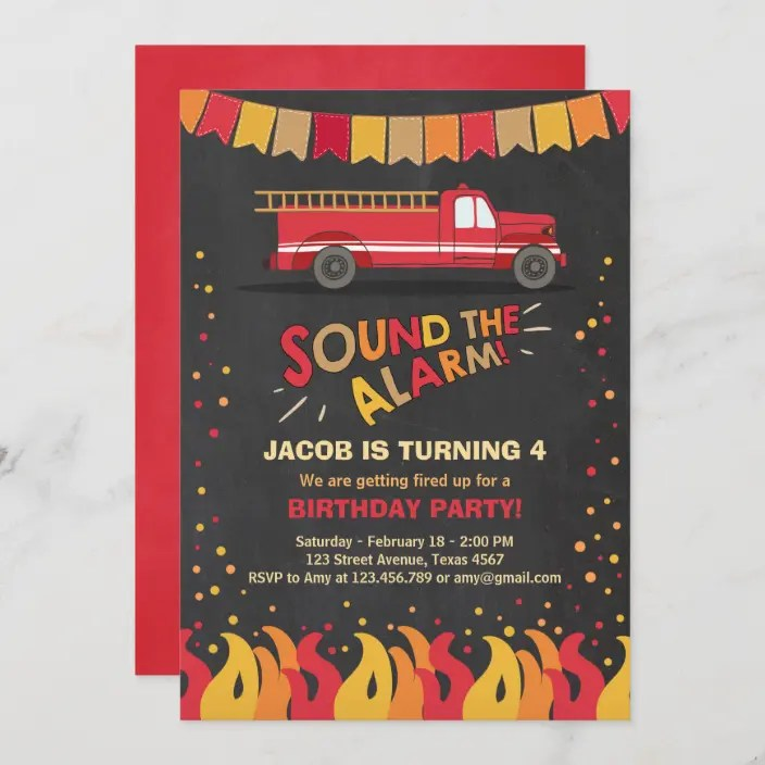 firefighter birthday invitations invite your guests to the firefighter birthday party with these fun, colorful personalized firefighter birthday invitations. Fire Truck Firefighter Birthday Invitation Boy Zazzle Com