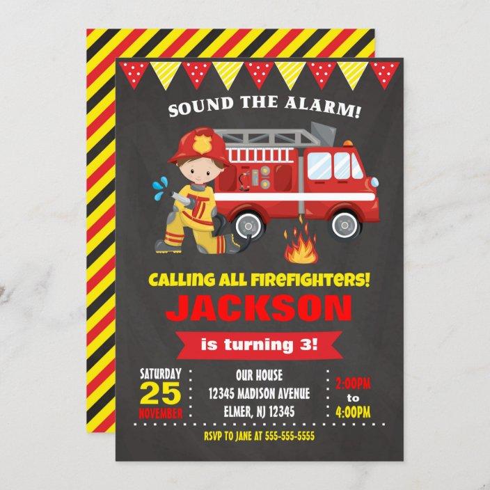 firefighter birthday invitation chalkboard zazzle com