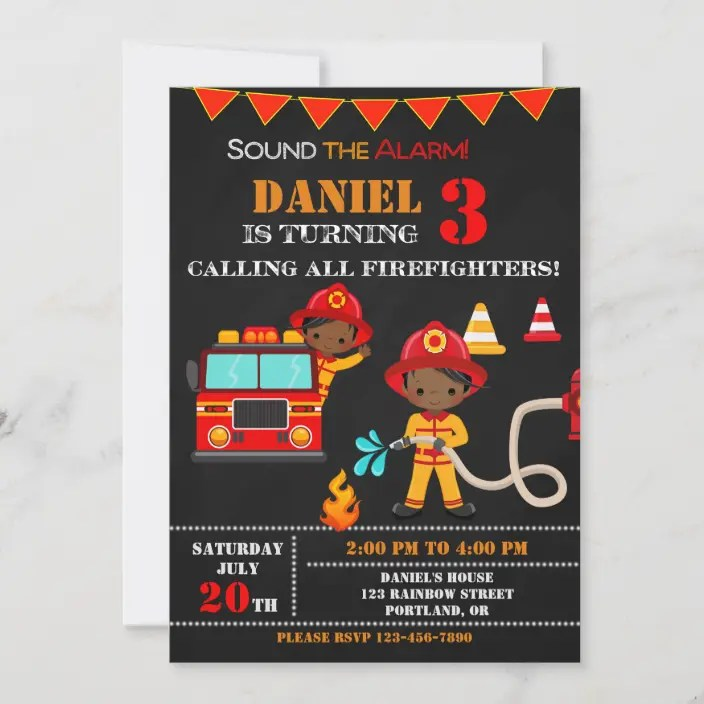 Download, print or send online for free! Firefighter Birthday Invitation Fire Truck Party Zazzle Com