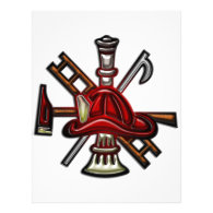 Firefighter Fire and Rescue Department Emblem Custom Letterhead