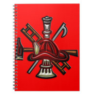 Firefighter Fire and Rescue Department Emblem Spiral Notebooks