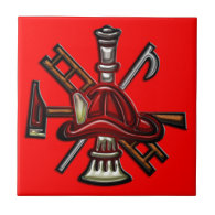 Firefighter Fire and Rescue Department Emblem Tile