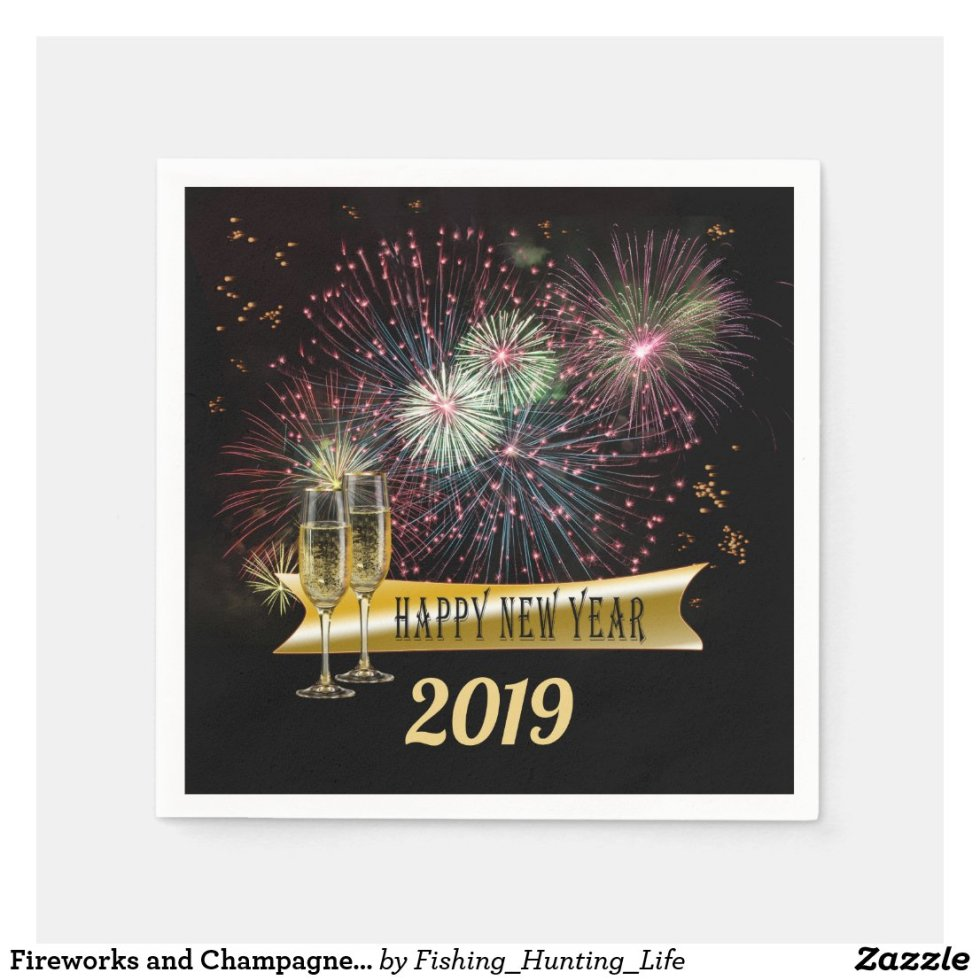 Fireworks and Champagne Glasses New Year Napkin