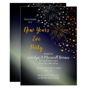New Year s Eve Invitations   Zazzle Fireworks and Stars Night Sky New Year s Eve Party Invitation