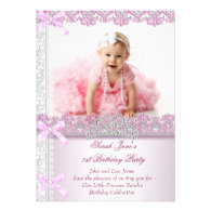 First 1st Birthday Party Girls Princess Pink Photo Custom Invite