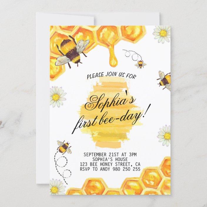 first bee day bee honey bee 1st birthday party invitation zazzle com