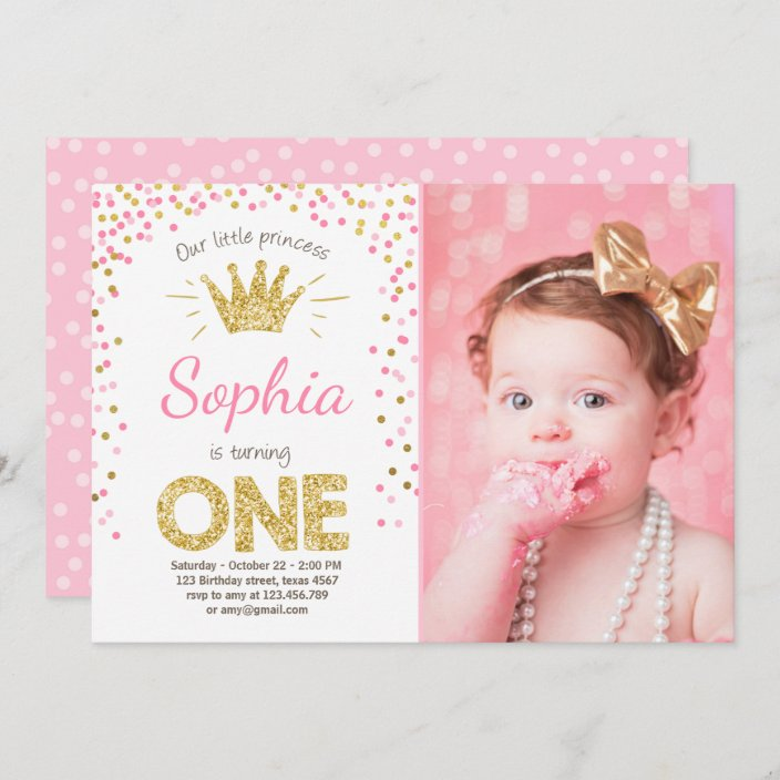 first birthday invitation princess gold pink zazzle com
