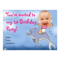 First Birthday Party Girl Invitation 1