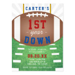 First Year Down Football Theme 1st Birthday Postcard