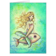 Fish Travel Cute Mermaid and Fish Fantasy Art Greeting Card