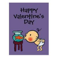 Fishbowl Kisses Orange Goldfish Postcard