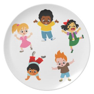Five Kids Cartoon Plate plate