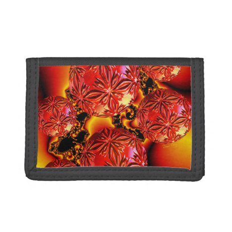 Flame Delights, Abstract Crimson Red Fire Tri-fold Wallet