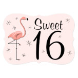 ❤️ Flamingo Pink 'Sweet 16' invitation bracket