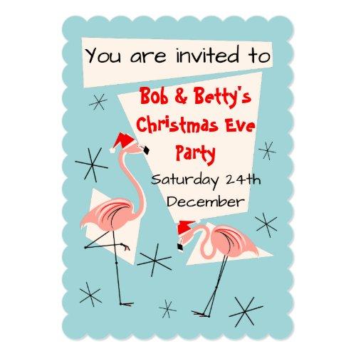 Flamingo Santas Blue invitation scalloped