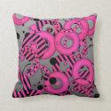 Floating circles Hot pink Silver Throw Pillows