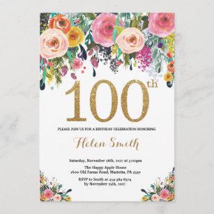 100th birthday invitations zazzle