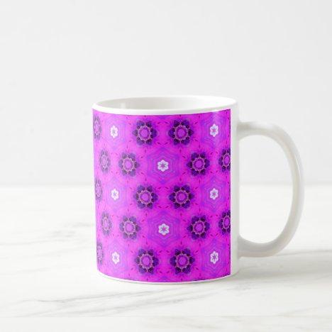 Floral Abstract Violet Modern Flower Hexagon Quilt Coffee Mug