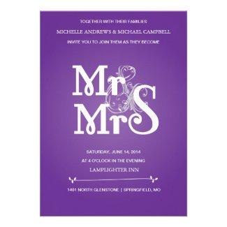 Floral Ampersand Wedding Invitation in Grey & Pur