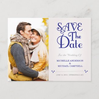 Floral ampersand Save the Date Postcard in Navy