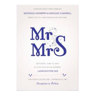 Floral ampersand Wedding Invitation in Navy