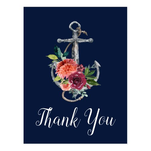 Floral Anchor | Navy Autumn Thank You Postcard
