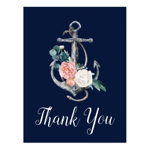 Floral Anchor | Navy Summer Thank You Postcard