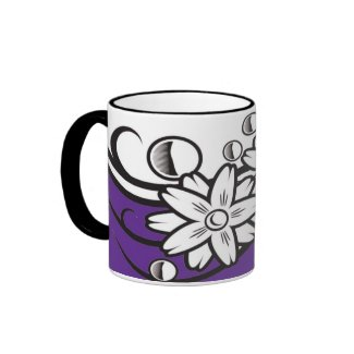 Floral art on  violet base mug mug