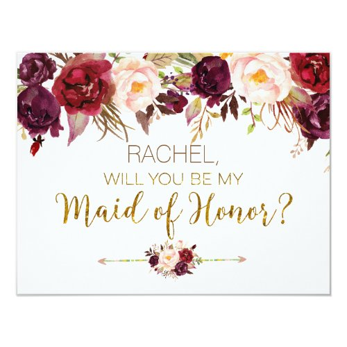 Floral Autumn Will You Be My Maid of Honor Card