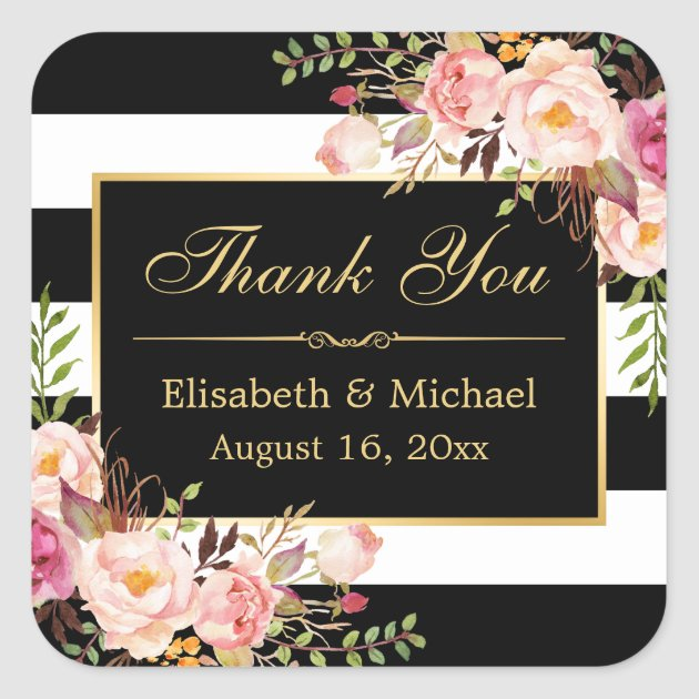 Floral Black White Striped Gold Frame Thank You Square