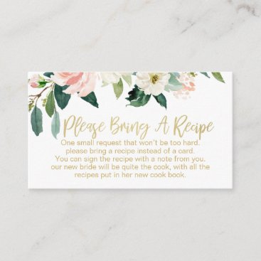 Floral Bridal Shower Recipe Card Request