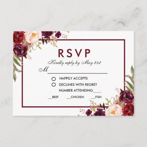 Floral Burgundy Wedding Meal RSVP BG