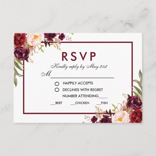 Floral Burgundy Wedding Meal RSVP BG