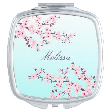 Floral Cherry Blossoms Compact Mirror