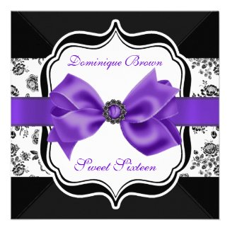 Floral Damask Invite with Purple Bow