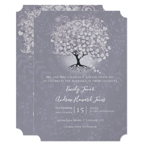 Floral Dusty Lavender Heart Leaf Tree Wedding Invitation