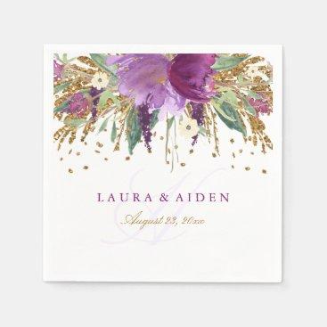 Floral Glitter Sparkling Amethyst Wedding Napkin