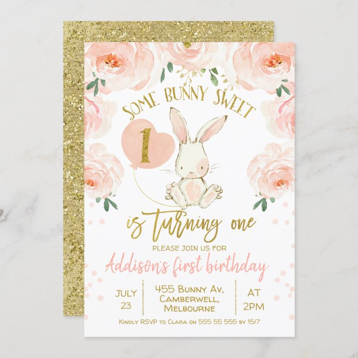 floral gold pink bunny 1st birthday invitation zazzle com