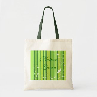 Floral green stripes tote bags