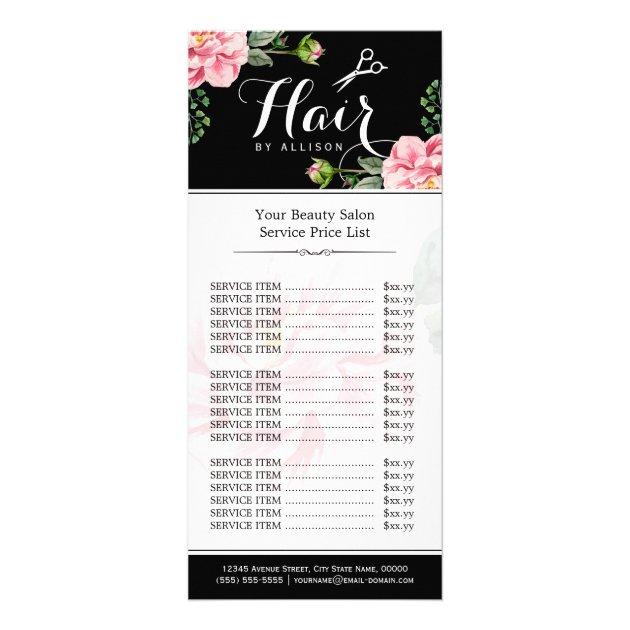 Floral Hair Stylist Modern Beauty Salon Price List Rack