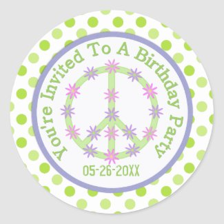 Floral Peace Sign: Save The Date Sticker zazzle_sticker