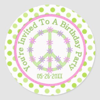 Floral Peace Sign: Save The Date Sticker zazzle_sticker