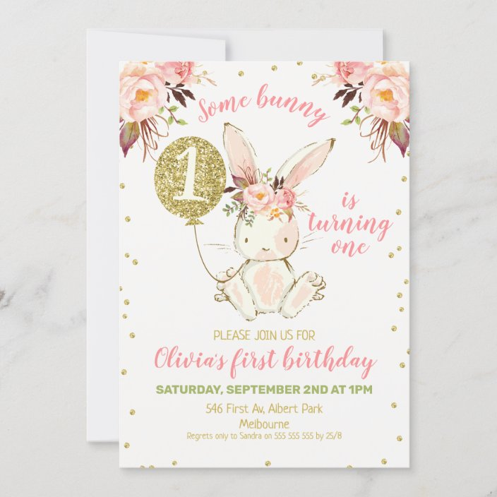 floral pink gold bunny 1st birthday invitation zazzle com