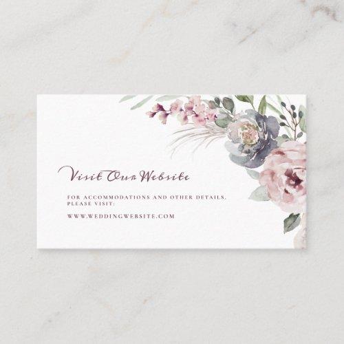 Floral rustic boho wedding website Insert card