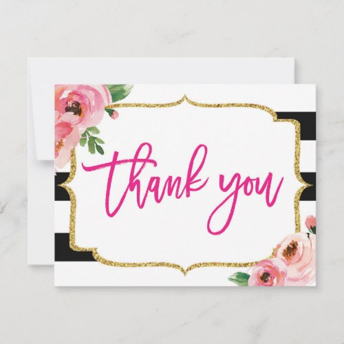 Floral Striped Thank You Note Card