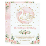 Floral Swan Princess / Peach Blush Gold Birthday Invitation